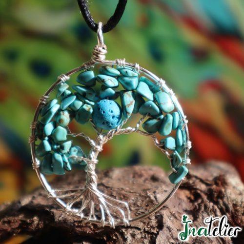 Pandantiv colier bijuterie aromaterapie Copacul Vietii din turcoaze si lava