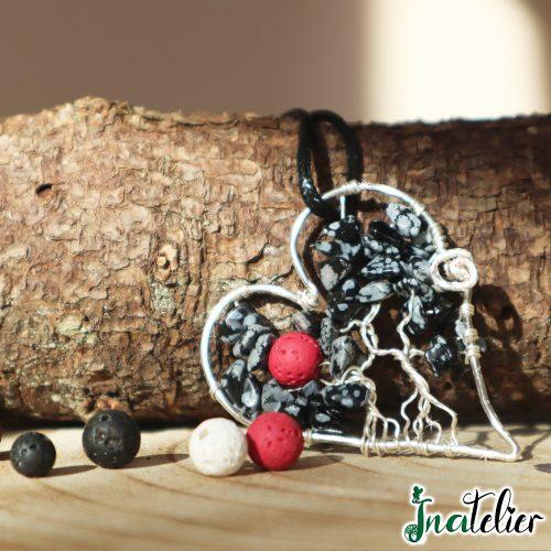 """Pandantiv """"Inima Parfumata"""" in forma de Copacul Vietii din obsidian, piatra care vindeca profund sufletul"""
